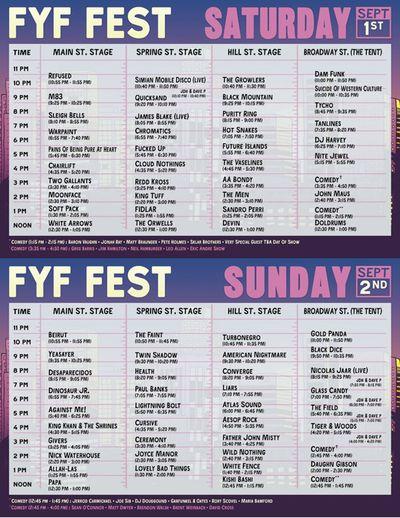 FYF 2012 Set Times