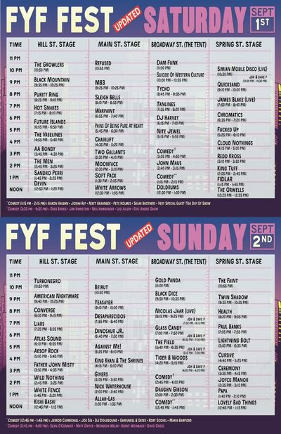 New FYF Set Times 2012
