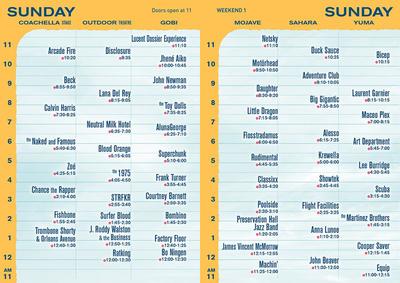 Coachella Set Times 2014 Sunday