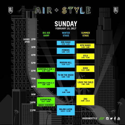 Sunday Set Times Air and Style Music Snowboarding Festival 2017 Exposition Park Los Angeles