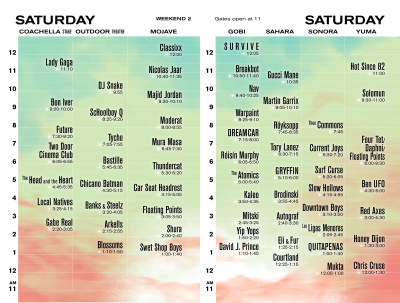 Coachella Weekend Two Set Times Saturday