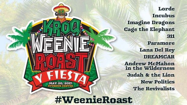 Flyer KROQ Weenie Roast Y Fiesta 2017 Los Angeles StubHub Center Incubus Lorde Imagine Dragons Lana Del Rey Paramore