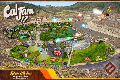 Map Cal Jam 17 2017 Glen Helen Regional Park Cage the Elephant Liam Gallagher Japandroids The Kills Queens of the Stone Age Royal Blood The Struts Wolf Alice