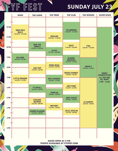 FYF 2017 Updated Sunday Set Times