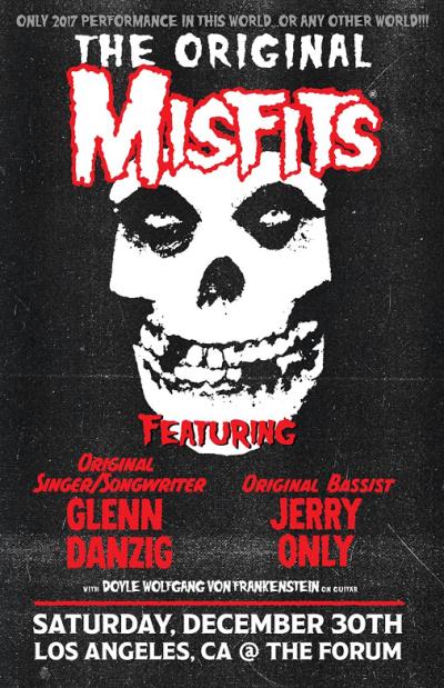 Poster The Original Misfits 2017 Los Angeles Forum Inglewood Reunion Alkaline Trio Discharge