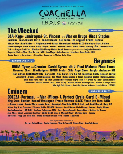 Coachella 2018 Indio Polo Field Beyonce The Weeknd Eminem Music Festival