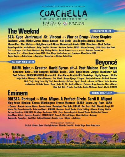 Coachella 2018 Indio Polo Field Beyonce The Weeknd Eminem Music Festival