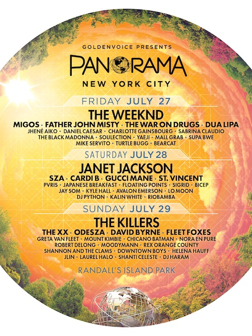 Panorama NYC 2018 New York Randall's Island Park The Weeknd Janet Jackson The Killers Music Festival Lineup Poster