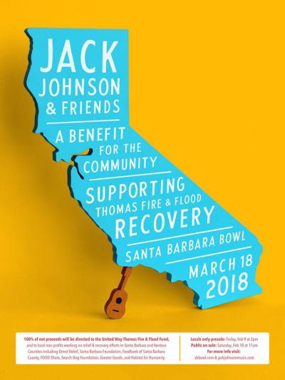 Jack Johnson Benefit Show Santa Barbara Bowl 2018 Concert Poster