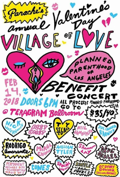 Panache Valentine's Day Village of Love 2018 Los Angeles Teragram Ballroom Downtown Best Coast Ty Segall Julianna Barwick Rodrigo Amarante
