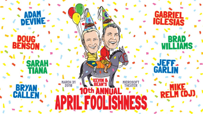Kevin and Bean April Foolishness Gabriel Iglesias Adam Devine Brad Williams Bryan Callen Doug Benson Jeff Garlin Sarah Tiana 2018 Los Angeles Benefit Comedy Show