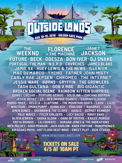 Outside Lands 2018 Music Festival Lineup The Weeknd Florence and the Machine Janet Jackson San Francisco