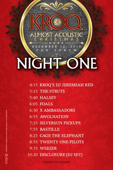 kroq almost acoustic christmas night one 2015 - Kroq Christmas