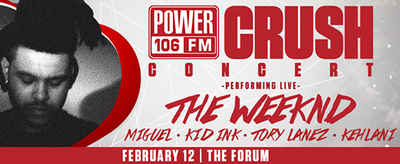 Power 106 Valentine's Crush 2016 Los Angeles Forum Inglewood The Weeknd Kehlani Kid Ink Tory Lanez Miguel