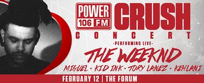 Power 106 Valentine's Crush 2016 Los Angeles Forum Inglewood The Weeknd Kehlani Kid Ink Tory Lanez Miguel