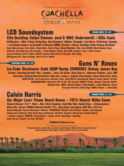 Coachella Music and Arts Festival Lineup 2016 Poster LCD SoundSystem Guns N' Roses Calvin Harris
