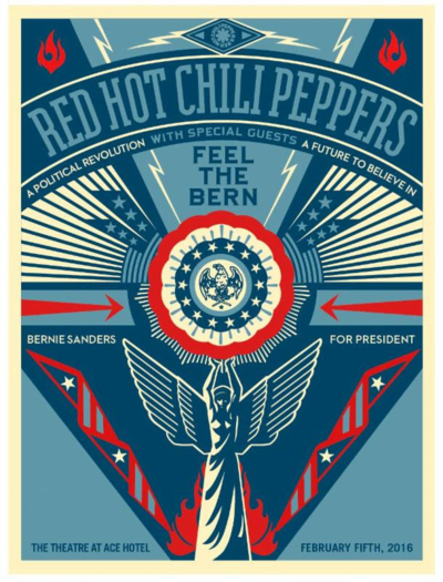 Bernie Sanders Fundraiser 2016 Red Hot Chili Peppers Theatre at Ace Hotel Los Angeles Downtown