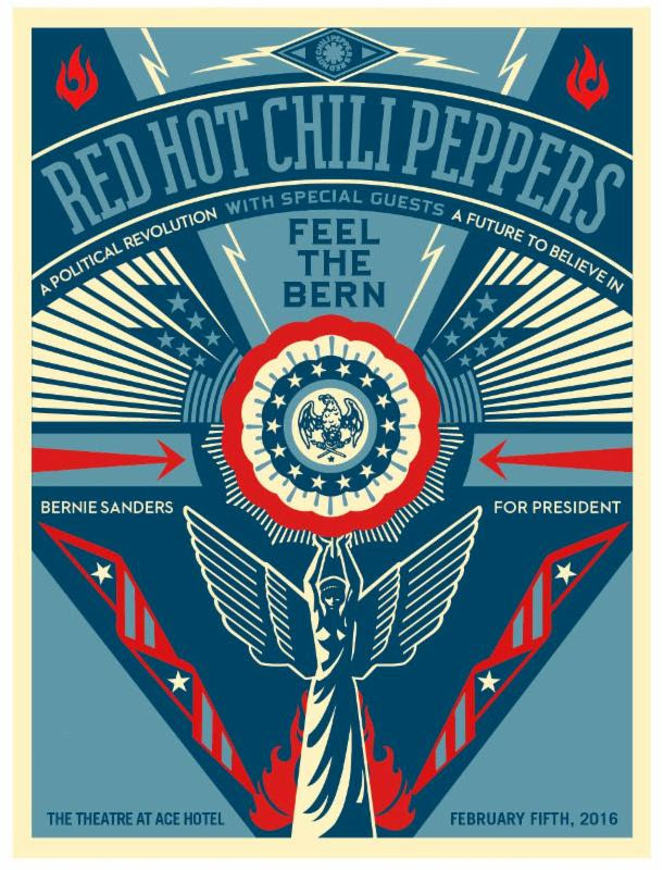 Bernie Sanders Fundraiser 2016 Red Hot Chili Peppers The Theatre At Ace Hotel Los Angeles Downtown