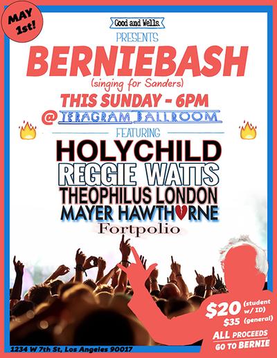 Berniebash-2016-Los-Angeles-Teragram-Ballroom-Downtown-Holychild-Reggie-Watts-Theophilus-London-Mayer-Hawthorne-Fortpolio-Fundraiser