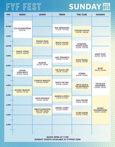 Set Times Sunday FYF Fest
