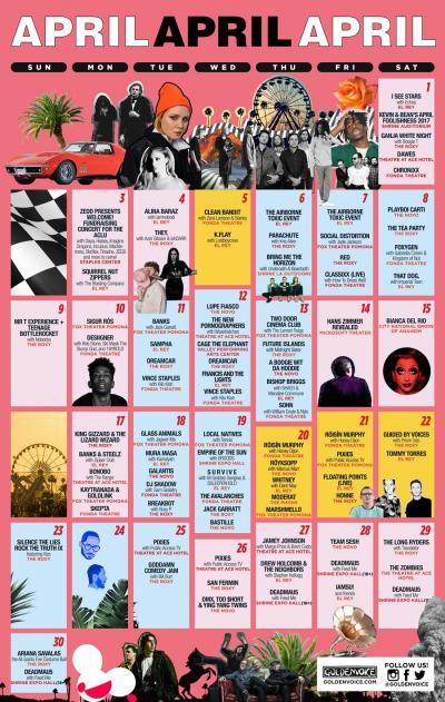 Goldenvoice Presents April 2017 Los Angeles Coachella Localchella Side Shows Concerts Events
