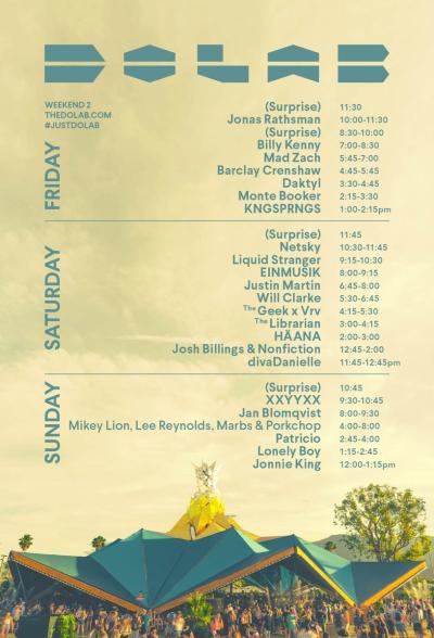 Coachella Weekend Two Set Times Do Lab