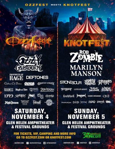 Ozzfest Meets Knotfest Glen Helen Amphitheater 2017 Event Poster