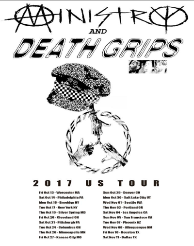 Tour Poster Flyer Death Grips 2017 Los Angeles Hollywood Palladium Ministry