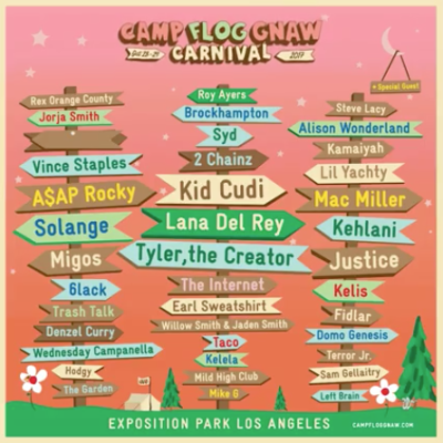 Camp Flog Gnaw Carnival Exposition Park 2017 Kid Cudi Lana Del Rey Tyler the Creator Vince Staples A$AP Rocky Solange Lil Yachty Justice Alison Wonderland Earl Sweatshirt