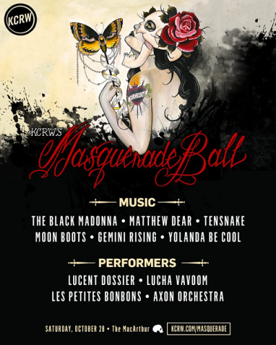 Poster Flyer KCRW Masquerade 2017 Los Angeles The MacArthur Downtown The Black Madonna Matthew Dear Tensnake Moonboots Gemini Rising Yolanda Be Cool Lucent Dossier Experience Lucha VaVOOM