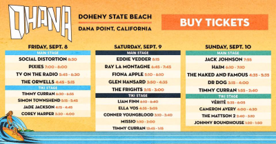 Set Times Ohana 2017 Doheny State Beach Orange County Social Distortion Eddie Vedder Pearl Jam Jack Johnson Haim Fiona Apple TV On The Radio Music Festival