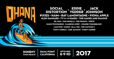 Ohana 2017 Doheny State Beach Orange County Social Distortion Eddie Vedder Pearl Jam Jack Johnson Haim Fiona Apple TV on the Radio Music Festival