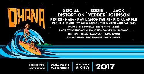 Ohana 2017 Doheny State Beach Orange County Social Distortion Eddie Vedder Pearl Jam Jack Johnson Haim Fiona Apple TV On The Radio Music Festival
