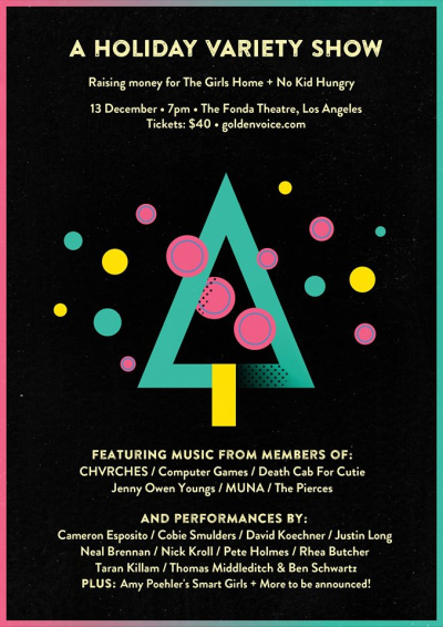 Justin Long Chvrches Holiday Variety Show Fonda Theatre Death Cab for Cutie Jenny Owen Youngs Benefit Show 2017