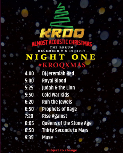 Kroq Almost Acoustic Christmas 2019, December 10 KROQ Almost Acoustic Christmas Set Times (The Scenestar)