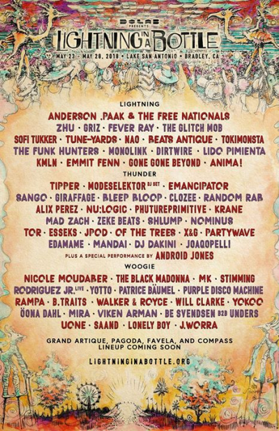 Lightning in a Bottle 2018 San Antonio Recreation Area Beats Antique The Black Madonna Fever Ray Giraffage Nicole Moudaber Griz Anderson Paak and the Free Nationals Tokimonsta Sofi Tukker Tune-Yards Zhu