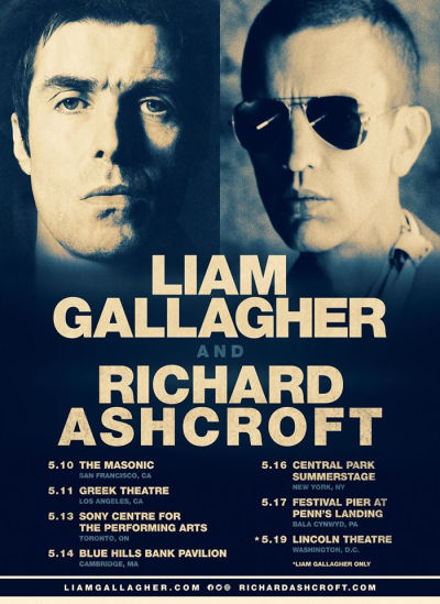 Poster Liam Gallagher 2018 Richard Ashcroft Los Angeles Greek Theatre Los Feliz As You Were Oasis These People The Verve