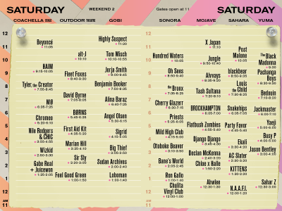 Coachella Set Times Saturday 2018 Beyonce Headliner Weekend 2