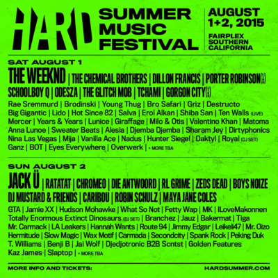 Hard Summer 2015 Festival Lineup The Weeknd The Chemical Brothers Jack U