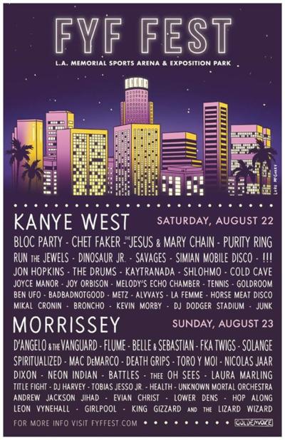 FYF Fest Update Lineup Poster Kanye West Frank Ocean 2015