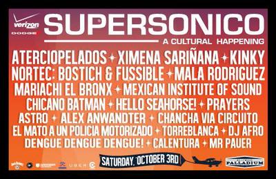 Supersonico 2015 Los Angeles Hollywood Palladium Aterciopelados Ximena Sarinana Kinky Nortec Mariachi El Bronx Chicano Batman Music Festival