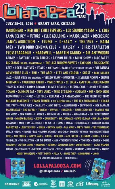 Lollapalooza-2016-Lineup-Poster-Chicago-Radiohead-Red-Hot-Chili-Peppers-LCD-Soundsystem-J-Cole-Lana-Del-Rey-Janes-Addiction-Disclosure-Music-Festival-Passes-Tickets