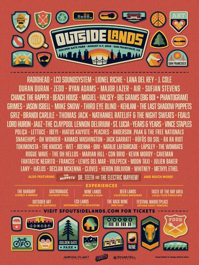Poster-Outside-Lands-2016-Lineup-Announcement-Radiohead-LCD-Soundsystem-Lana-Del-Rey-J-Cole-Sufjan-Stevens-Duran-Duran-San-Francisco-Bay-Area-Music-Festival