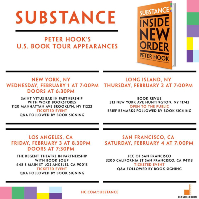 Peter Hook Substance Inside New Order Book Tour 2017