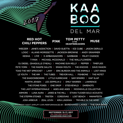 Kaaboo Music Festival 2017 Del Mar Fairgrounds San Diego Red Hot Chili Peppers Pink Tom Petty and the Heartbreakers Muse