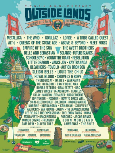 Outside Lands 2017 San Francisco Golden Gate Park Music Festival Metallica Gorillaz The Who Lorde A Tribe Called Quest Tenth Anniversary