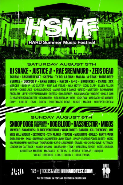 Hard Summer Music Festival 2017 Auto Club Speedway Fontana DJ Snake Snoop Dogg Doggystyle Justice Dog Blood Skepta Music Festival