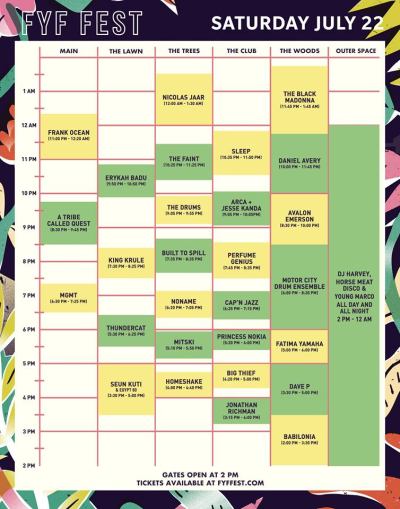 FYF 2017 Updated Saturday Set Times
