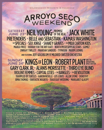 Poster Arroyo Seco Weekend 2018 Los Angeles Brookside Park Rose Bowl Pasadena Robert Plant Jack White Neil Young Kings of Leon Alanis Morrisette Gary Clark Jr. Third Eye Blind The Pretenders