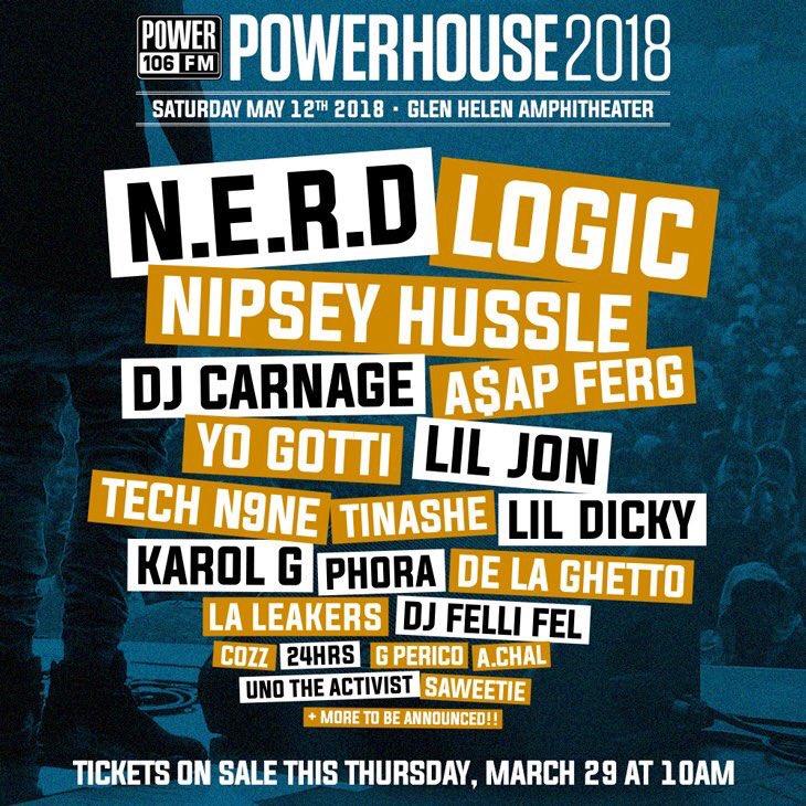 Power 106 Powerhouse 2018 Los Angeles Glen Helen Amphitheatre Devore Logic Tinashe N.E.R.D. A$AP Ferg Lil Jon Nipsey Hussle Radio Festival